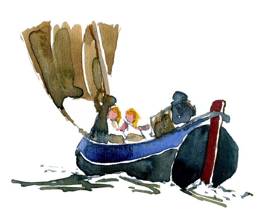 watercolor boat - study of Winslow Homer watercolor