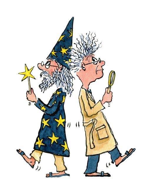 wizard in a duel with scientist, illustration