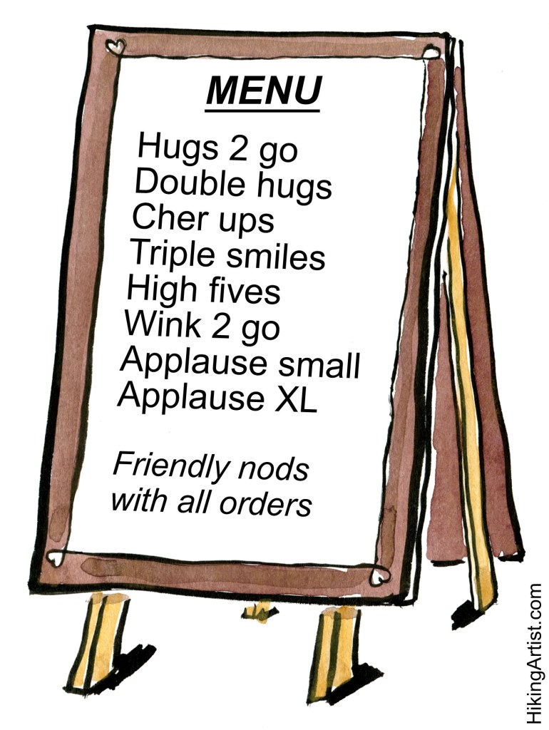 menu with hugs, winks, smiles and XL applause 2 Go