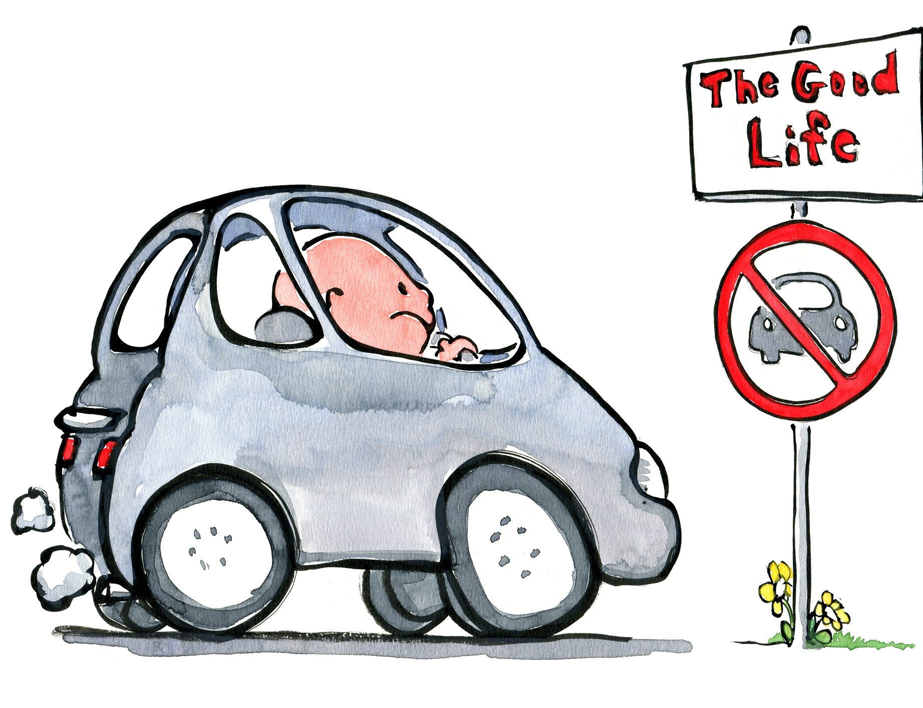 Illustration of a man sitting in his car looking out on the good life trail ahead