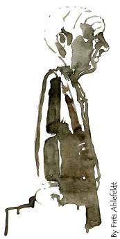 Grey tired man. Watercolor