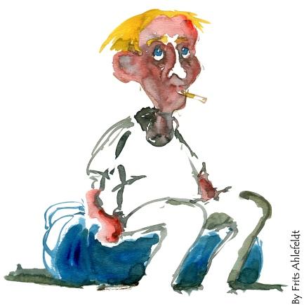 man sitting. yellow hair. Watercolor
