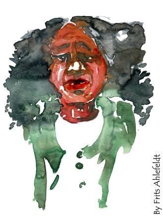 Woman, green jacket Watercolor