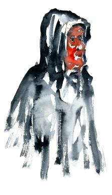 Man in raincoat. Watercolor