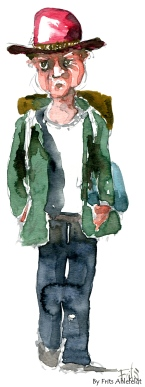 Man with red hat and Backpack. Watercolor