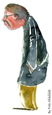 Man standing, grey coat
