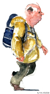 Man walking with backpack