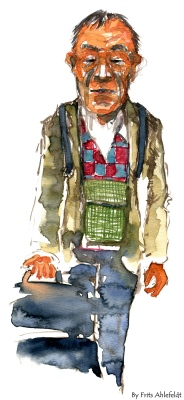 Man traveling with bag. Watercolor