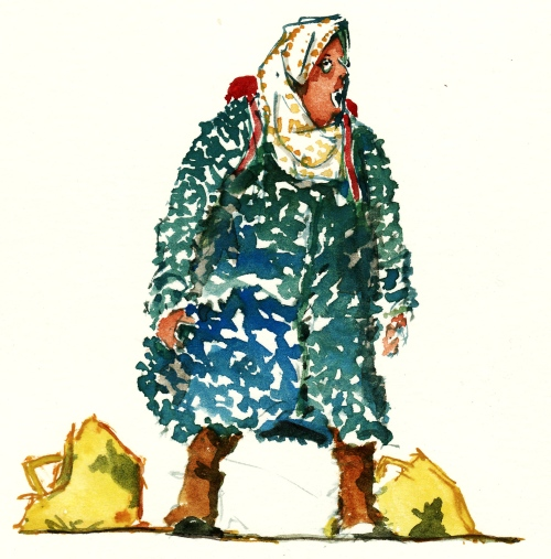 tired woman watercolor with bags
