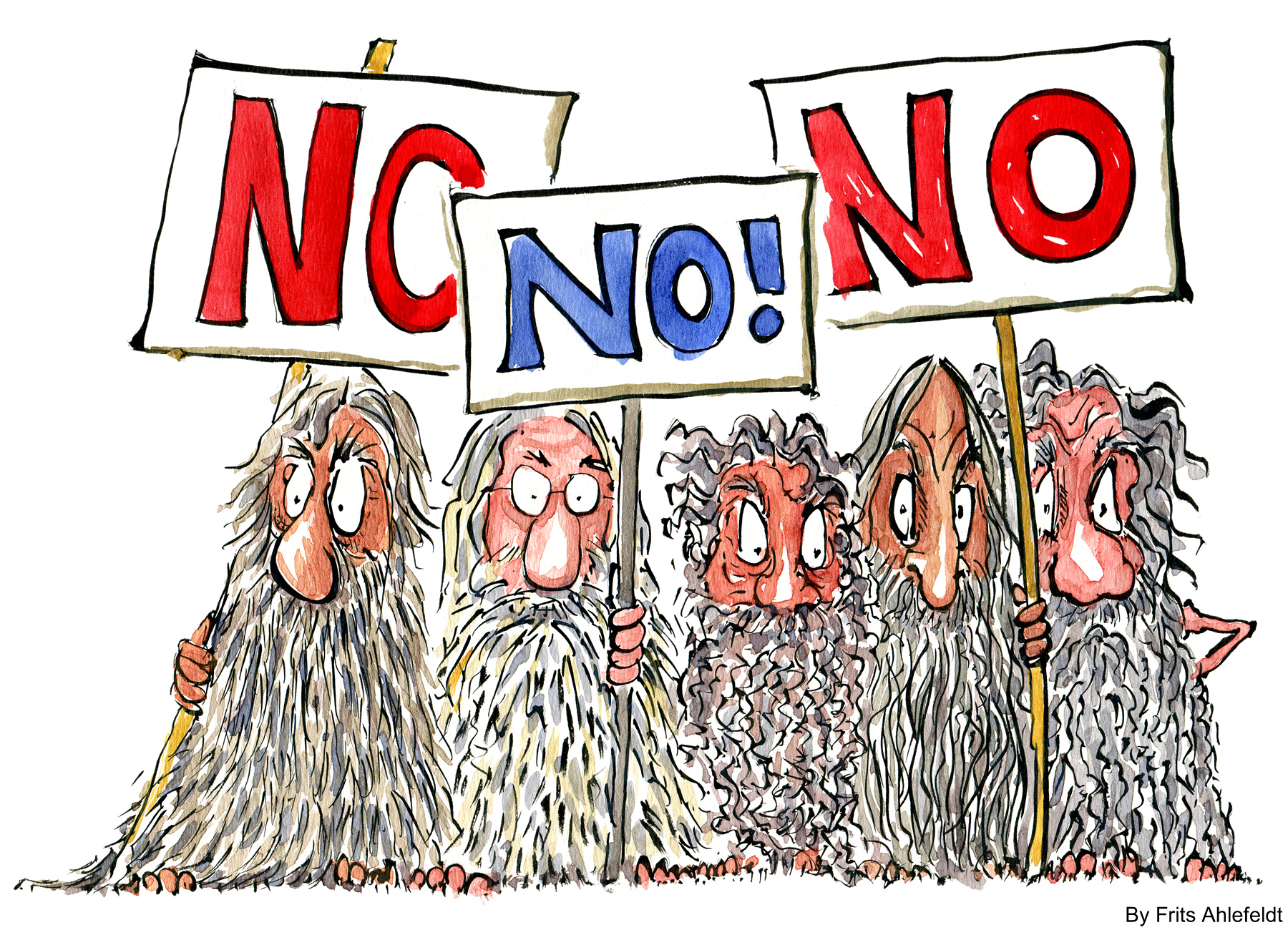 drawing of an group of men with signs saying NO