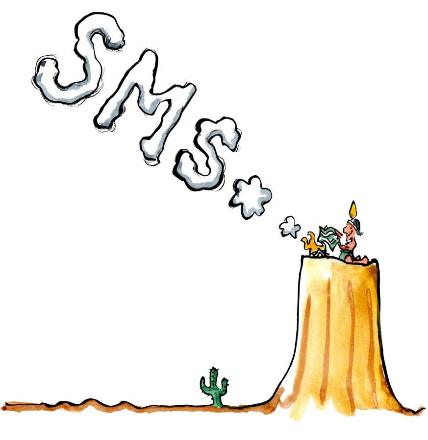 drawing of an native American sending a smoke signal