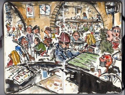 Watercolor from the Moonfisher cafe, Christiania, Moleskine