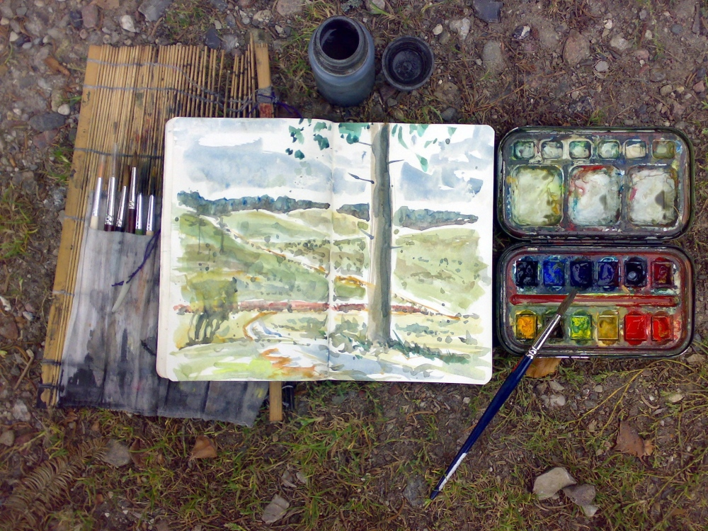Watercolor gear, Fyen Coast trail, Denmark