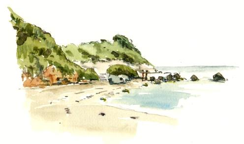 Arnager, beach, Bornholm, Denmark. Watercolor