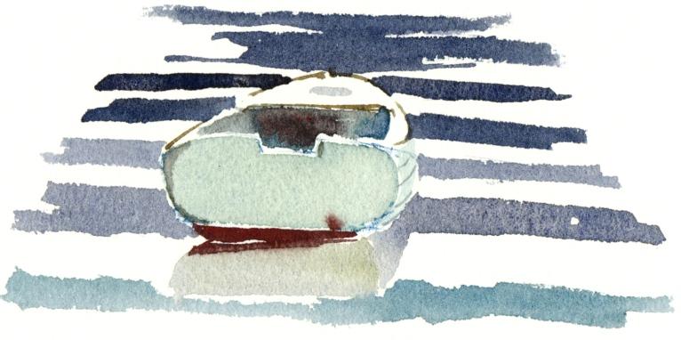 Small boat, Bornholm, Denmark. Watercolor