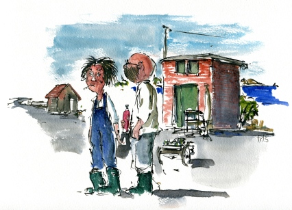 People, Aarsdale, Bornholm, Denmark. Watercolor
