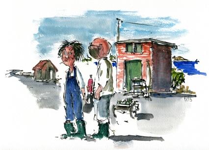 People, Aarsdale, Bornholm, Denmark. Watercolor