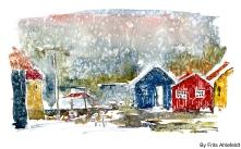 Nexo, rain, Bornholm, Denmark. Watercolor
