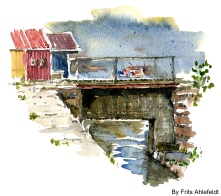 Nexo, Bornholm, Denmark. Watercolor