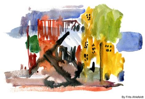 Nexo sketch, Bornholm, Denmark. Watercolor