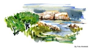 Rocks coastal, east coast, Bornholm, Denmark. Watercolor