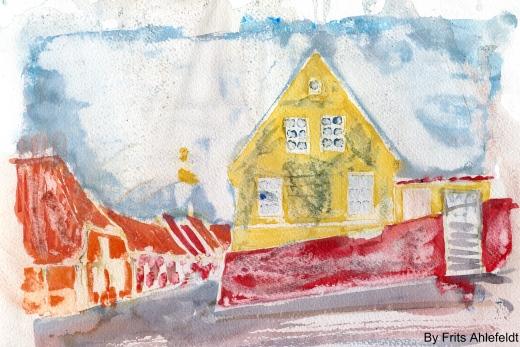 Roenne, sketch, Bornholm, Denmark. Watercolor