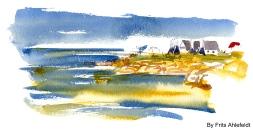 Svaneke, Bornholm, Denmark. Watercolor