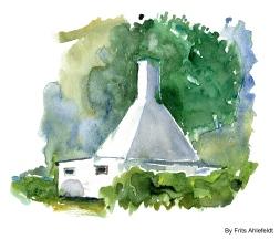 Smokehouse, Svaneke, Bornholm, Denmark. Watercolor