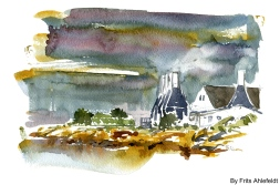 Smokeries, Svaneke, Bornholm, Denmark. Watercolor