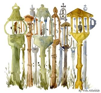 Remembered image of sculptures, nexo, Bornholm, Denmark. Watercolor