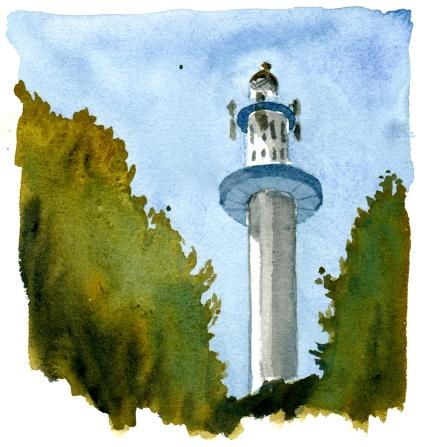 Dueodde lighthouse, Bornholm, Denmark. Watercolor
