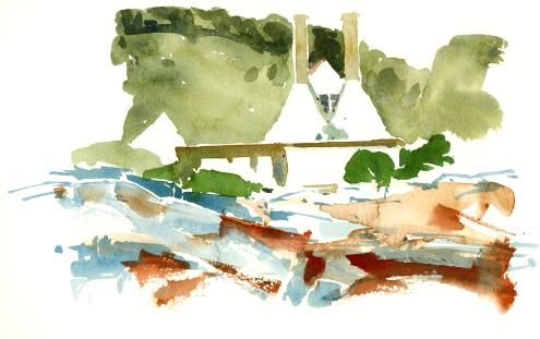 Gudhjem smokehouse, Bornholm, Denmark. Watercolor