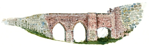 Hammershus bridge, Bornholm, Denmark. Watercolor