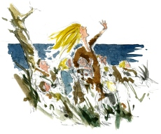 holy woman, the story of old sacred rocks, Bornholm, Denmark. Watercolor