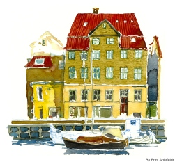 Boat and house, Watercolor from Christianshavn, Copenhagen, Denmark