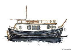 Houseboat, Watercolor from Christianshavn, Copenhagen, Denmark
