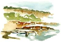 Coastline, Bornholm, Denmark. Watercolor