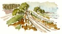 Coast trail, Bornholm eastcoast. watercolor