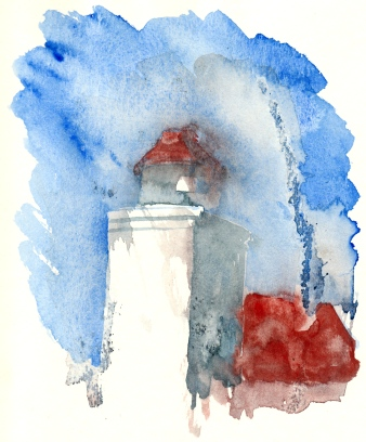 Light house, Bornholm, Denmark. Watercolor