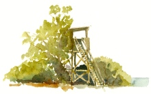bird tower, Bornholm, Denmark. Watercolor