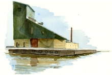 Nexo harbour, old industry building, Bornholm, Denmark. Watercolor