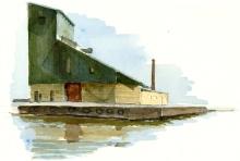 Nexo harbour, old industry building, Bornholm, Denmark. Watercolor