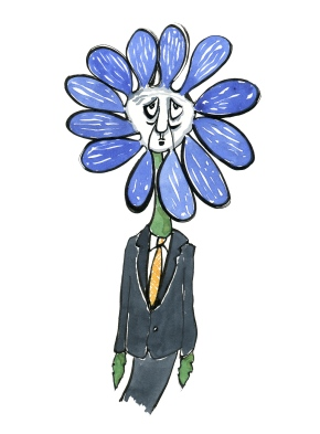 Drawing of a Flower-businessman