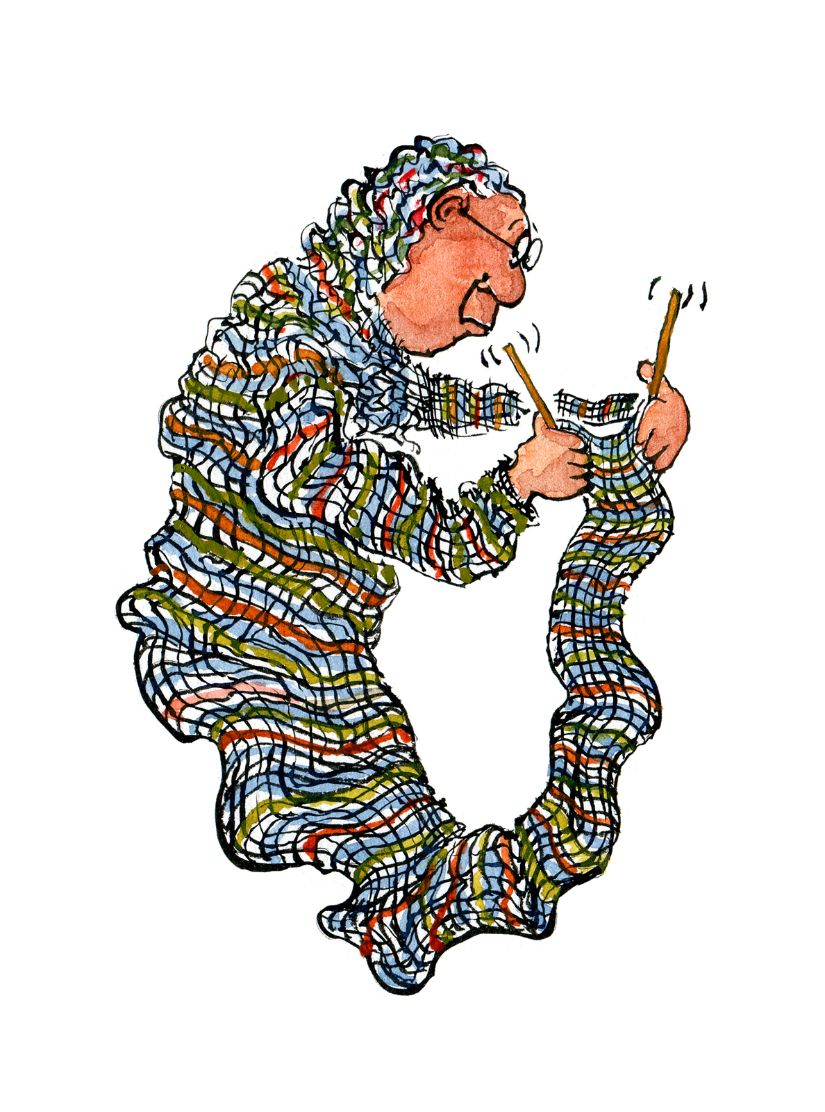Old Lady Knitting The Hiking Artist Project By Frits