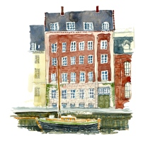 Houses, Watercolor from Christianshavn, Copenhagen, Denmark