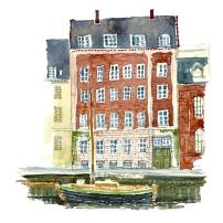 Houses, Watercolor from Christianshavn, Copenhagen, Denmark