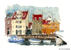 Boats and houses, Watercolor from Christianshavn, Copenhagen, Denmark