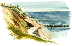 Coastline, southcoast, Bornholm, Denmark. Watercolor