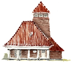 House, Roenne, Bornholm, Denmark. Watercolor
