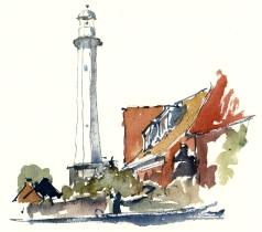 Roenne harbour, Bornholm, Denmark. Watercolor